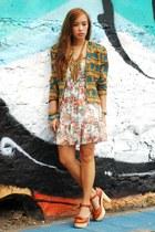 printed vintage blazer - Forever 21 dress