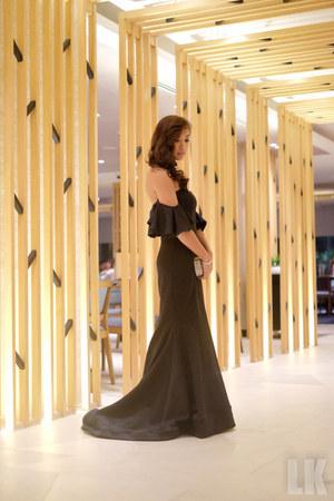 black custom made dress