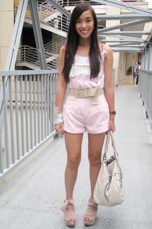 white lovevintage top - pink Bayo shorts - pink Topshop shoes - beige Charles an