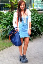 blue Zara dress - gray lynka Soule Phenomenon shoes - blue U bag