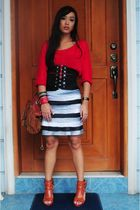red Zara top - black Glitterati belt - black Glitterati skirt - orange bought on