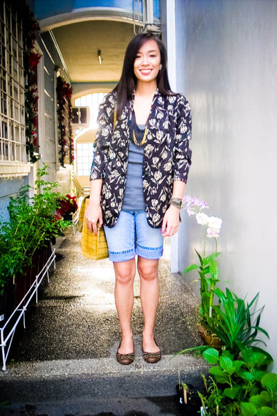 black Lovevintagemanila blazer - blue Zara shorts - gray Topshop top - black Tru
