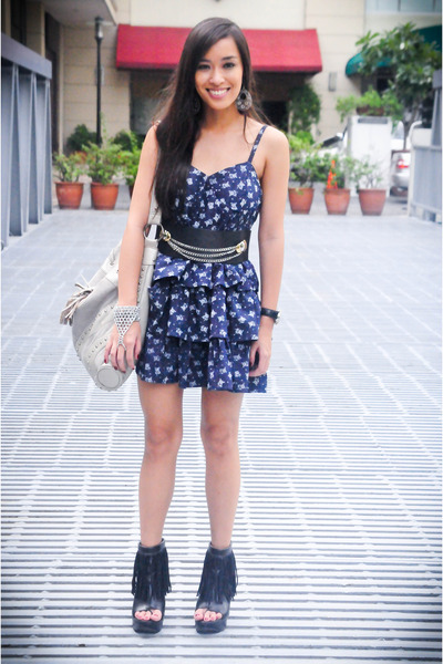 blue Forever 21 dress - black Forever 21 shoes - gray purse - silver Mafia acces