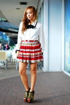 white vintage top - red Forever 21 skirt