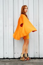 orange cape top - wedges Aldo shoes - yellow skirt