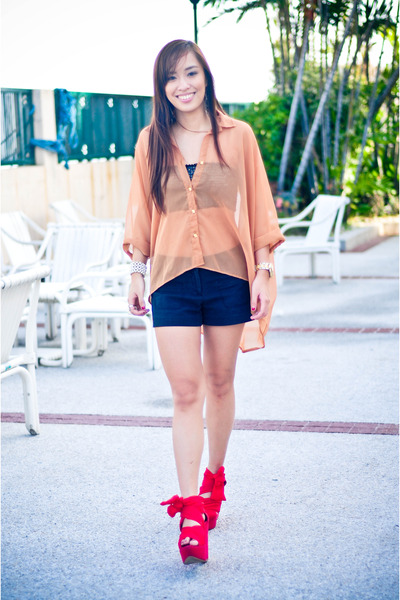 red wisteria Topshop shoes - black random brand shorts - brown sheer bought from