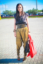 black Zara top - gold pants - black bought online shoes - black Glitterati belt