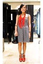 black Rockwell Bazaar dress - red anagon necklace - red bought online shoes - bl