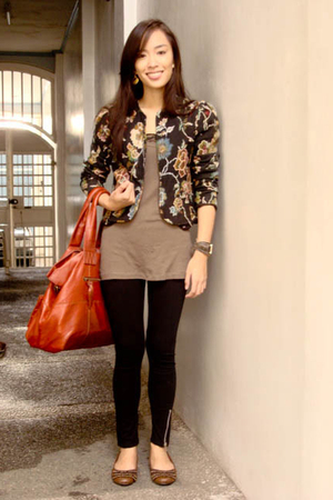 bought online blazer - Topshop top - SM leggings - accessories - Summersault sho