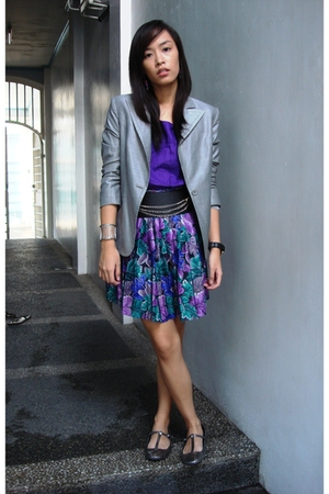 blazer - Eight One top - altered skirt - Glitterati belt - Topshop shoes - Arche