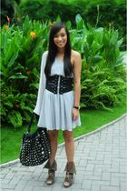 gray Topshop dress - black Glitterati belt - black PBJ purse - green Amour Manil