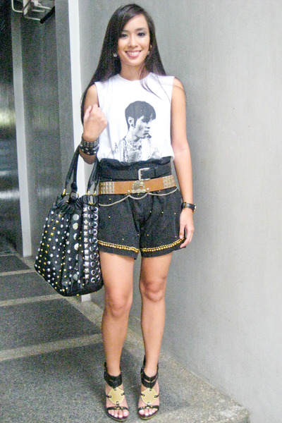 white Topshop top - black from hongkong shorts - black Zara belt - brown vintage