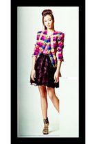 pink Margiela blazer - black Moonshine skirt - bought online shoes - pink Topsho