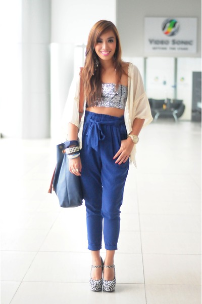 blue Forever 21 pants - blue heels Forever 21 shoes - silver Forever 21 bra
