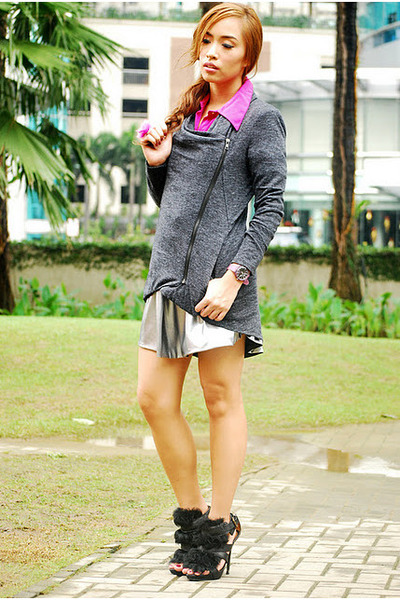 gray Forever 21 cardigan - black heels Zara shoes - magenta polo shirt Zara top