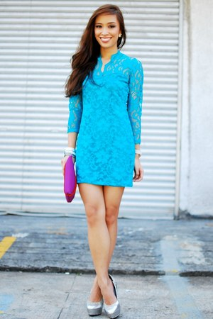 turquoise blue lace Sheinside dress