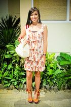 pink Betty dress - orange bought online shoes - beige Michael Kors purse - black
