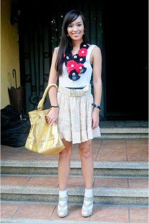 beige Topshop top - beige Forever 21 skirt - white random brand socks - beige bo