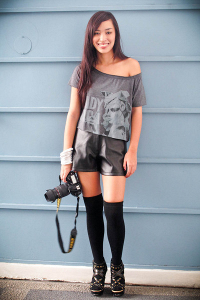 black leather Forever 21 shorts - black michael antonio shoes