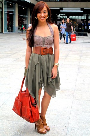 brown Forever 21 top - green Archive Clothing skirt - brown Zara shoes - brown p