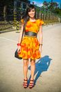 Orange-altered-from-my-grandmother-dress-red-bought-online-shoes-black-forev