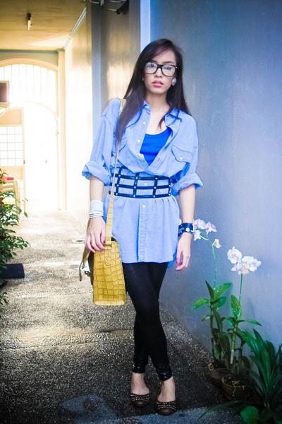 blue giordano top - black bought online leggings - brown ichigo accessories - br