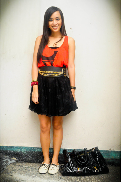 red Topshop dress - black Moonshine skirt - beige ichigo shoes - black Glitterat