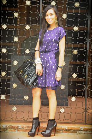 blue Forever 21 dress - black Topshop shoes - black CMG purse - white Mafia acce