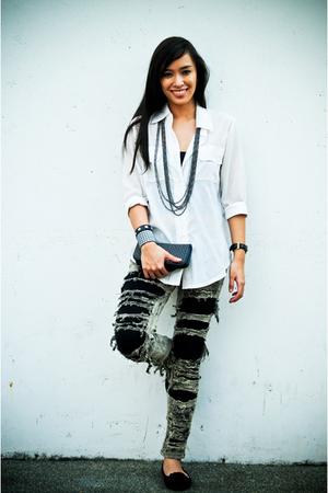 gray ripped Stylebreak jeans - black Zara leggings