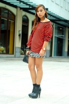 black boots Topshop shoes - printed Forever 21 skirt - red striped top