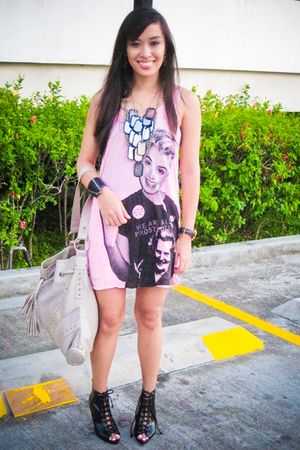 pink LoveCulture top - white Zara shorts - black Forever 21 shoes - black Cutetu