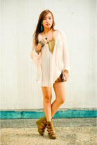 olive green Fivebyfive shoes - brown Zara shorts - nude loose see thru top