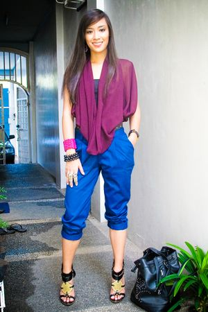 purple Rockwell Bazaar top - heels michael antonio shoes - black Forever 21 bag