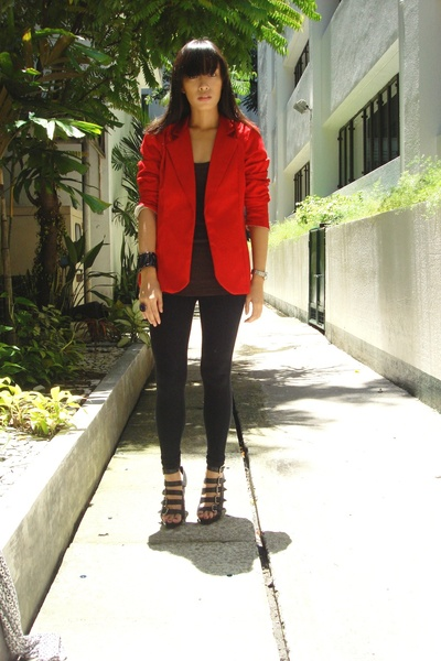 Undernourished Manila blazer - Topshop top - Zara leggings - Zara blazer - Zara