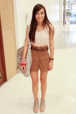 pink random brand top - brown custom made shorts - beige random from Hong Kong s