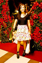 black random brand top - yellow Poisoberry skirt - black online shoes - black ra