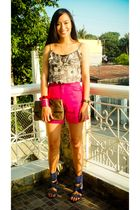 brown Topshop dress - pink random brand shorts - blue bought online shoes - brow