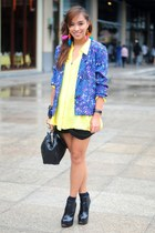 black boots shoes - purple blazer - yellow top - black skirt