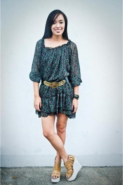 black Cintura belt - brown wedges Soul Phenomenon shoes - green floral dress