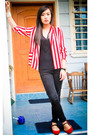Red-it-was-given-to-me-as-a-gift-blazer-black-topshop-top-black-mango-pants-