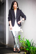 black Zara blazer - white Topshop top - black random brand accessories - black T