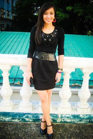 black Monroe top - black Zara skirt - black Zara belt - black People are People