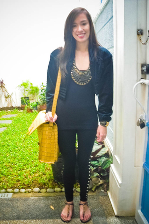 black Lovevintagemanila blazer - black The Ramp leggings - black Topshop top - b