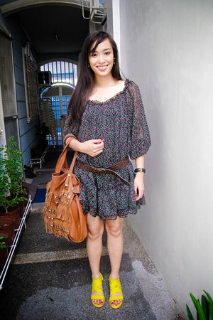 green dress - yellow bought online shoes - brown accessories - brown Dorothy Per
