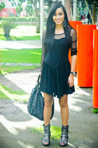 black thrifted dress - gray studded boots shoes - gray random from the US purse