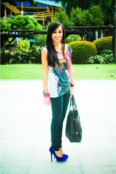 white Topman shirt - black Mango jeans - blue michael antonio shoes - brown purs