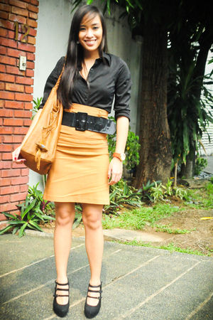 brown Zara skirt - brown Zara purse - black Zara belt
