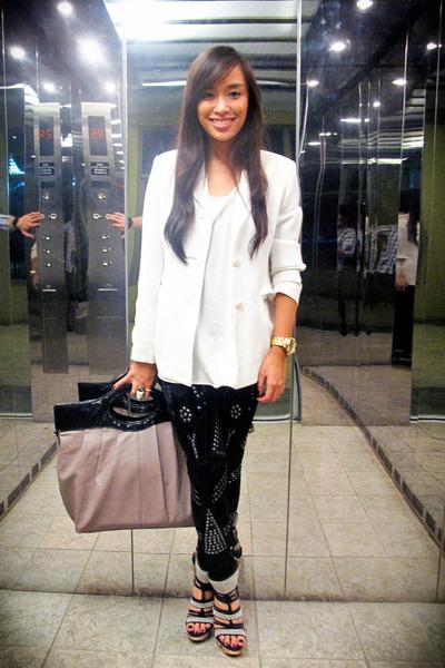 white Zara blazer - white Topshop top - black Mango leggings - black from singap
