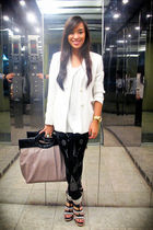 white Zara blazer - white Topshop top - black Mango leggings - black from singap