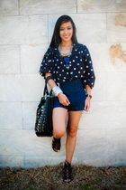 black random brand top - blue Topshop shorts - black Zara shoes - white Mafia ac